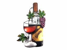 metal wall art wine glass bottle and purple g scene