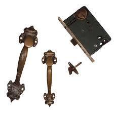 sold handsome antique double handle thumb latch set with lock