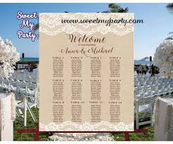 Wedding Table Seating Chart Rustic Wedding Seating Chart Lace Burlap Seating Plan 029w