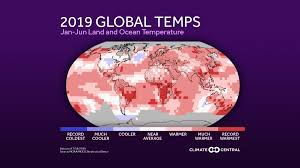 2019 Global Temperature Anomalies Through June Climate Central