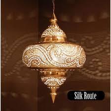 moroccan chandelier silver exotic metal pendant light tyre shape medium leaf pattern