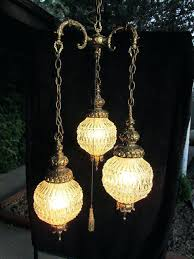 vintage chain swag hanging lamp chandelier fredrick ramond mime