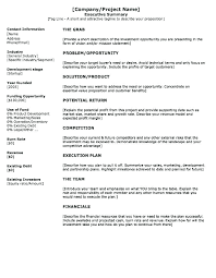 Resume Executive Summaries One Page Business Plan Template Awesome Executive Summary