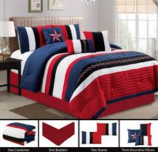modern 7 piece bedding navy blue black white red pin tuck texas