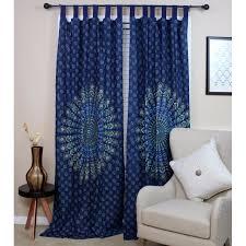 handmade sanganer pea fl design 100 cotton tab top curtain d panel 44x88 in blue