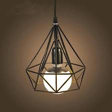 diamond pendant light modern art classical iron mond pendant light black white loft metal birdcage lampshade diamond pendant light