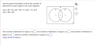 Use The Given Information To Fill In The Number Of Elements For Each Region In The Venn Diagram Solved Use The Given Information To Fill In The Number Of