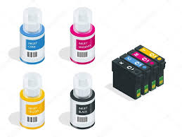 Isometric Cmyk Set Of Cartridges For Ink Jet Printer And