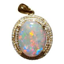 opal pendant with diamonds red blue oval