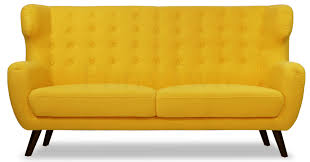 replica wingback designer 3 seater sofa yellow