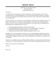 Resume And Cover Letter Sample Leading Professional Event Specialist Cover Letter Examples 24