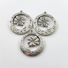 details about 25pcs pack round alloy pendants charms antique silver lucky clover jewelry craft