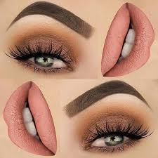 brown and eye shadow and lip color makeup idea for spring