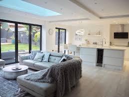 enthralling modern kitchens. Enthralling Contemporary Open Plan Kitchen Living Room White Scandinavian Modern Garden Bifold Doo Kitchens N