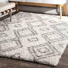 gray and white rug. Palm Canyon Yorba Moroccan Trellis White And Grey Shag Rug (8\u0026#x27; X Gray 6