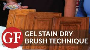 how to gel stain kitchen cabinets using dry brush technique