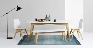 Kitchen Table With Bench Set Dante Dining Table And Bench Set Oak And White Madecom