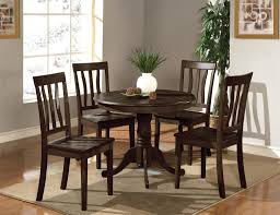 enticing dark brown small round kitchen table and chairs set for 4 featuring white vase and