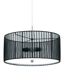 large drum light fixture and sheer black extra white pendant shade