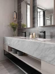 bianco carrara marble countertop and a
