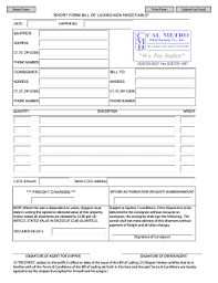Straight Bol Blank Straight Bol Forms Non Negotiable Fill Online