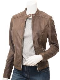 women s brown leather biker jacket deatsville front
