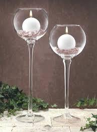 tall glass tealight candle holders pedestal stemmed glassware pillar ball mercury holder