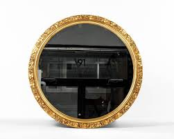 vintage round wooden frame gilded wall mirror excellent condition the round mirror measure 33