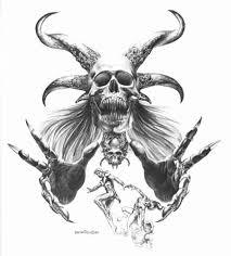 Demon Horn Designs Demon Skull And Horns Tattoo Design By Boris Vallejo
