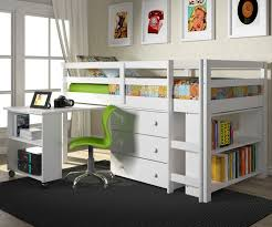 twin size low loft bed in white finish w  donco trading