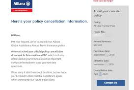 allianz travel insurance refunded my