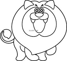 無料イラスト アニマル キャラクター ライオン ぬりえ