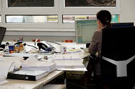 office work desk. Secretary Office Job Desk Monitor Work E