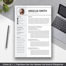 Best Selling Office Word Resume Cv Templates Cover Letter References For Digital Instant Download The Angelia Resume