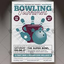 Bowling Event Flyer Vintage Bowling Premium Flyer Psd Template