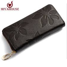 women fashion flower print genuine leather wallets women high quality clutch wallets women s vintage clutch bag coin purse women