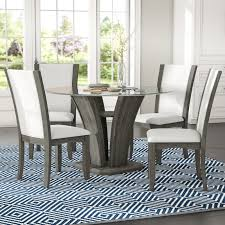 Glass top dining sets Wesley Wayfair Brayden Studio Kangas 5piece Glass Top Dining Set Reviews Wayfair