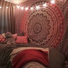 maroon fl ombre mandala wall tapestry bedding beach throw