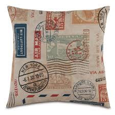 passport stamp pillow