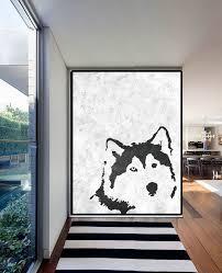 extra large acrylic painting on canvas minimalist painting canvas art black white wolf painting
