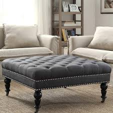 tufted ottoman coffee table oxford tufted black leather ottoman end table