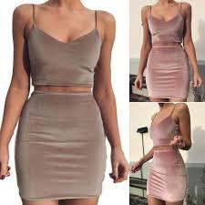 <b>Women Sexy</b> Slim Spaghetti Straps V neck velvet Tops + <b>Mini Skirt</b> ...