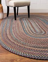 green rug braided textured design 5ft x 8ft casual reversible thick wool carpet