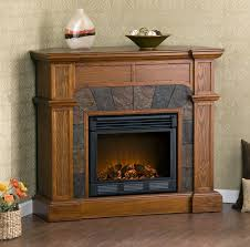 image of black stone electric fireplace