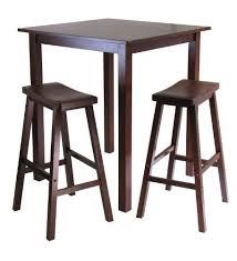 winsome s parkland 3 piece square high pub table set in antique walnut finish 207 35