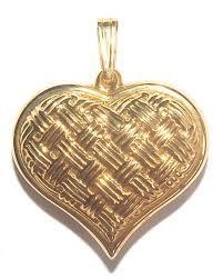 14k gold basket weave heart pendant by eternagold 2 6g