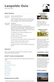 Music Teacher Resume Samples Visualcv Resume Samples Database