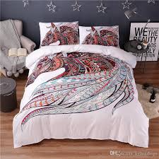 colorful horse printing abstract bedding set white duvet cover set double queen king size bedclothes hippie gypsy beddings canada 2019 from hybeddings