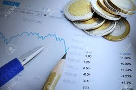 Financial Chart And Numbers Pen Pencil And Money Blue Tonality