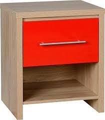 red high gloss furniture. Seville 1 Drawer Bedside Cabinet In Light Oak/Red High Gloss Red Furniture E